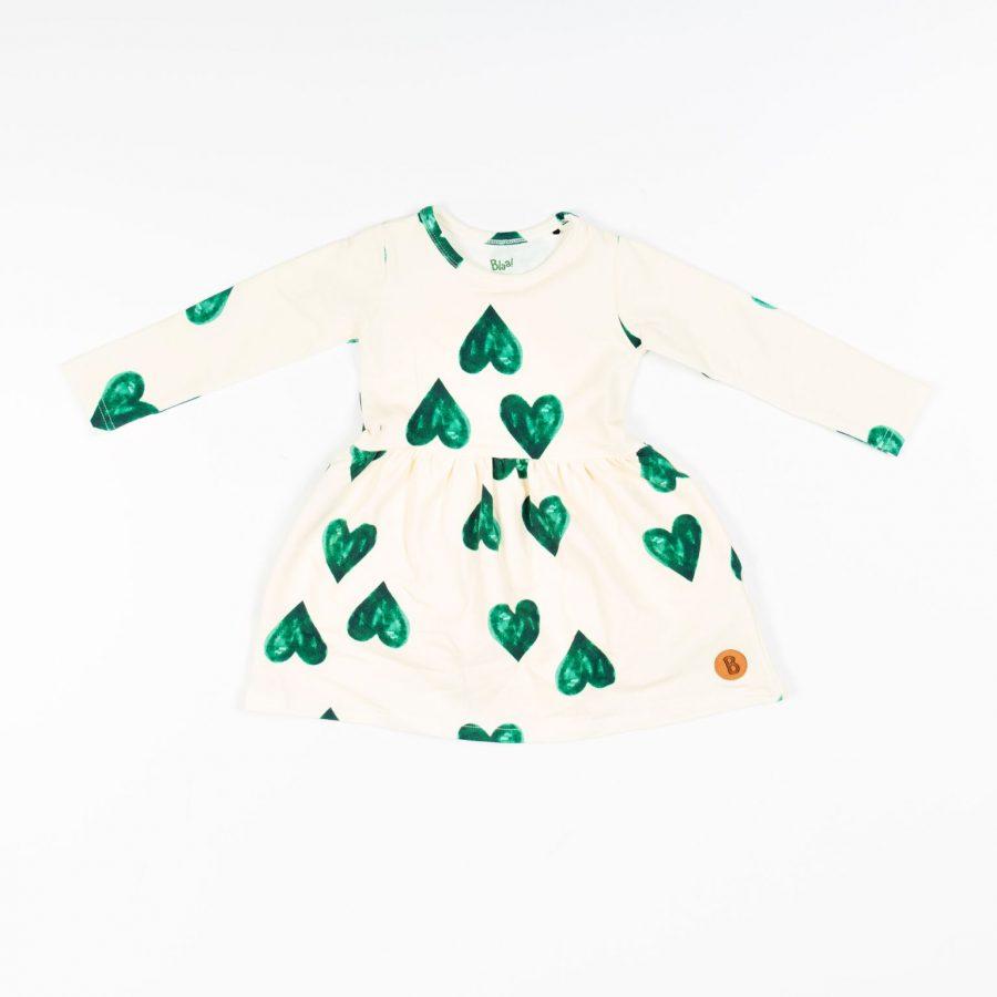 BLAA Akaa Wrinkle Dress mekko Green Hearts 122 128 36d44682fb