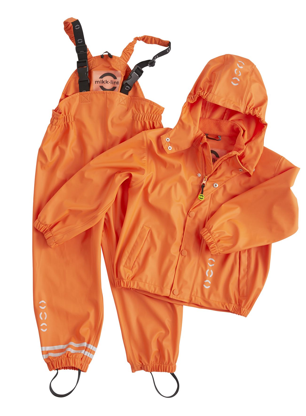 mikk-line oranssi sadetakki ja kurahaalarit setti